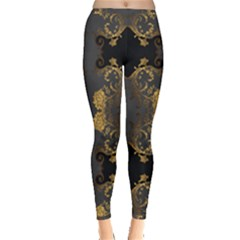 Beautiful Black And Gold Seamless Floral  Inside Out Leggings