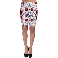 Beautiful Red Flowers Seamless Bodycon Skirt