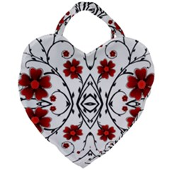 Beautiful Red Flowers Seamless Giant Heart Shaped Tote
