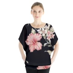 Beautiful Tropical Black Pink Florals  Blouse