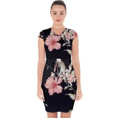 Beautiful Tropical Black Pink Florals  Capsleeve Drawstring Dress  by flipstylezdes