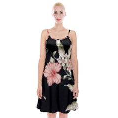 Beautiful Tropical Black Pink Florals  Spaghetti Strap Velvet Dress