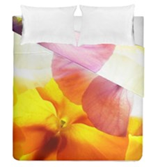 Big Colorful Tropical Yellow And Purple  Duvet Cover Double Side (queen Size) by flipstylezdes