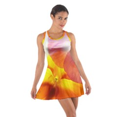 Big Colorful Tropical Yellow And Purple  Cotton Racerback Dress