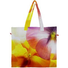 Big Colorful Tropical Yellow And Purple  Canvas Travel Bag by flipstylezdes