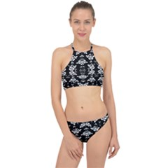 Black And White Florals Background  Racer Front Bikini Set