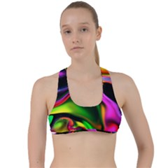 Colorful Smoke Explosion Criss Cross Racerback Sports Bra