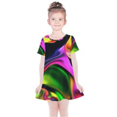 Colorful Smoke Explosion Kids  Simple Cotton Dress