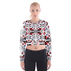 Creative Geometric Red And Black Design Cropped Sweatshirt