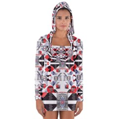 Creative Geometric Red And Black Design Long Sleeve Hooded T Shirt