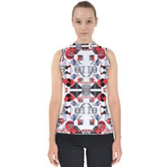 Creative Geometric Red And Black Design Shell Top