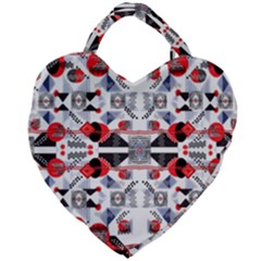 Creative Geometric Red And Black Design Giant Heart Shaped Tote
