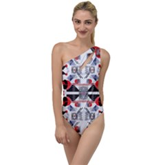 Creative Geometric Red And Black Design To One Side Swimsuit by flipstylezdes