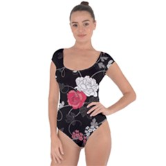 Elegant Pink Roses Short Sleeve Leotard
