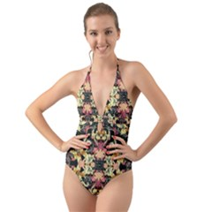 Beautiful Seamless Brown Tropical Flower Design  Halter Cut Out One Piece Swimsuit