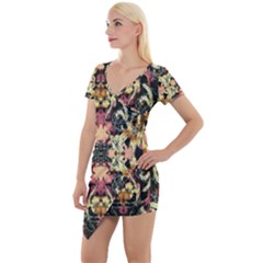 Beautiful Seamless Brown Tropical Flower Design  Short Sleeve Asymmetric Mini Dress by flipstylezdes