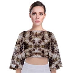 Gorgeous Brown Rustic Design By Kiekie Strickland Tie Back Butterfly Sleeve Chiffon Top
