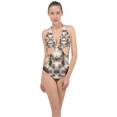 Gorgeous Brown Rustic Design By Kiekie Strickland Halter Front Plunge Swimsuit