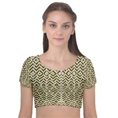 Stripes Glitter And Black Zigzags Velvet Short Sleeve Crop Top