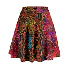 Exotic Water Colors Vibrant  High Waist Skirt