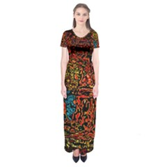 Exotic Water Colors Vibrant  Short Sleeve Maxi Dress