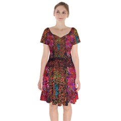 Exotic Water Colors Vibrant  Short Sleeve Bardot Dress