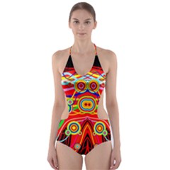 Colorful Artistic Retro Stringy Colorful Design Cut Out One Piece Swimsuit