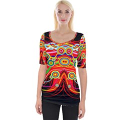 Colorful Artistic Retro Stringy Colorful Design Wide Neckline Tee