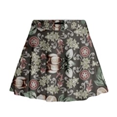 Seamless Pink Green And White Florals Peach Mini Flare Skirt