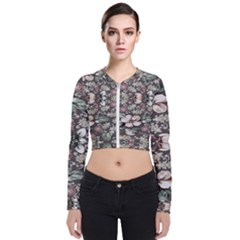 Seamless Pink Green And White Florals Peach Zip Up Bomber Jacket