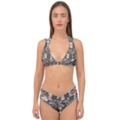 Seamless Pink Green And White Florals Peach Double Strap Halter Bikini Set