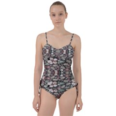 Seamless Pink Green And White Florals Peach Sweetheart Tankini Set