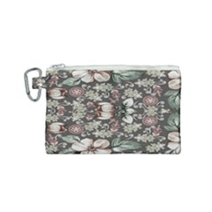 Seamless Pink Green And White Florals Peach Canvas Cosmetic Bag (small)