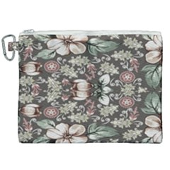 Seamless Pink Green And White Florals Peach Canvas Cosmetic Bag (xxl)