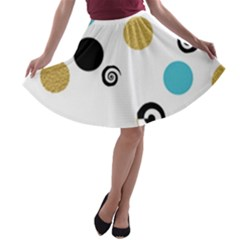 Fun Retro Blue Gold Circles  A Line Skater Skirt