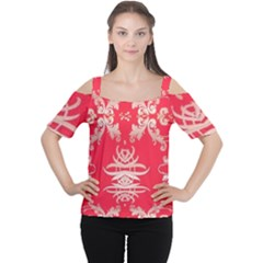 Red Chinese Inspired  Style Design  Cutout Shoulder Tee