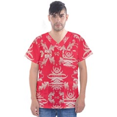 Red Chinese Inspired  Style Design  Men s V Neck Scrub Top