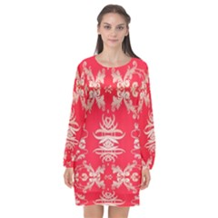 Red Chinese Inspired  Style Design  Long Sleeve Chiffon Shift Dress