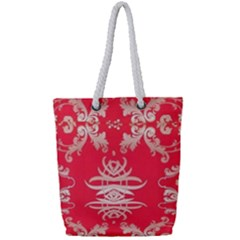 Red Chinese Inspired  Style Design  Full Print Rope Handle Tote (small) by flipstylezdes