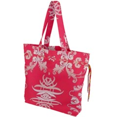 Red Chinese Inspired  Style Design  Drawstring Tote Bag by flipstylezdes