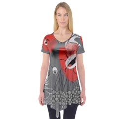 Red Poppy Flowers On Gray Background  Short Sleeve Tunic