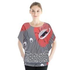 Red Poppy Flowers On Gray Background  Blouse