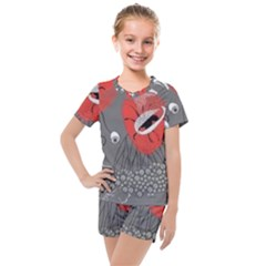 Red Poppy Flowers On Gray Background  Kids  Mesh Tee And Shorts Set