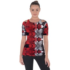 Red And Black Florals  Short Sleeve Top by flipstylezdes