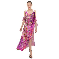 Hot Pink Mess Snakeskin Inspired  Maxi Chiffon Cover Up Dress