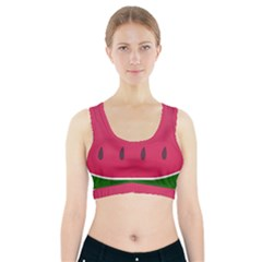 Watermelon Fruit Summer Red Fresh Sports Bra With Pocket