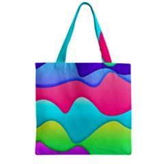 Lines Curves Colors Geometric Lines Zipper Grocery Tote Bag by Nexatart