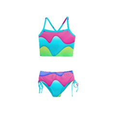 Lines Curves Colors Geometric Lines Girls  Tankini Swimsuit