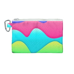 Lines Curves Colors Geometric Lines Canvas Cosmetic Bag (medium) by Nexatart