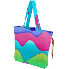 Lines Curves Colors Geometric Lines Drawstring Tote Bag by Nexatart